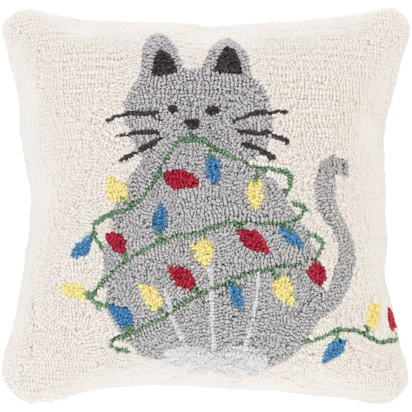 Thiais 18 in. Down or Polly Filled Pussy Cat Holiday Throw Pillow