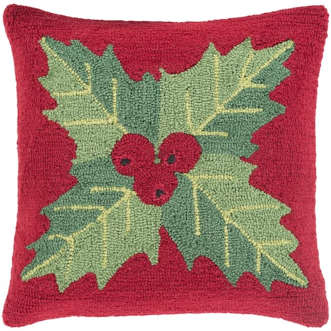 Thatcham 18 in. Feather Down or Polly Filled Winter Plant Holiday Throw Pillow