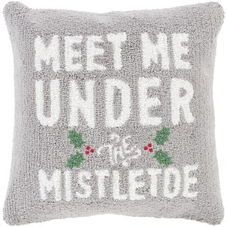 Thame 18 in. Feather Down or Polly Filled Mistletoe Holiday Throw Pillow