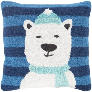 Terrassa 18 in. Down or Polly Filled Polar Bear Holiday Throw Pillow