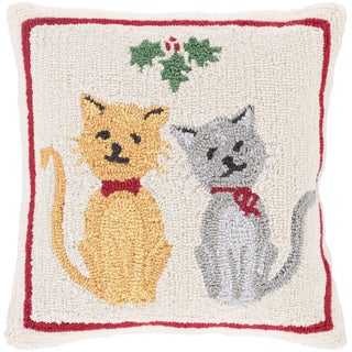 Temecula 18 in. Down or Polly Filled Pussy Cats Holiday Throw Pillow