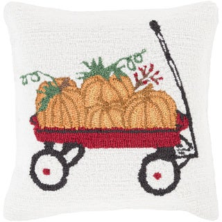 Tavua 18 in. Down or Polly Filled Pumpkins Holiday Throw Pillow
