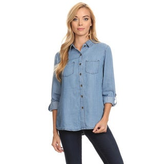 Women's Blue Cotton Denim Button-down Shirt