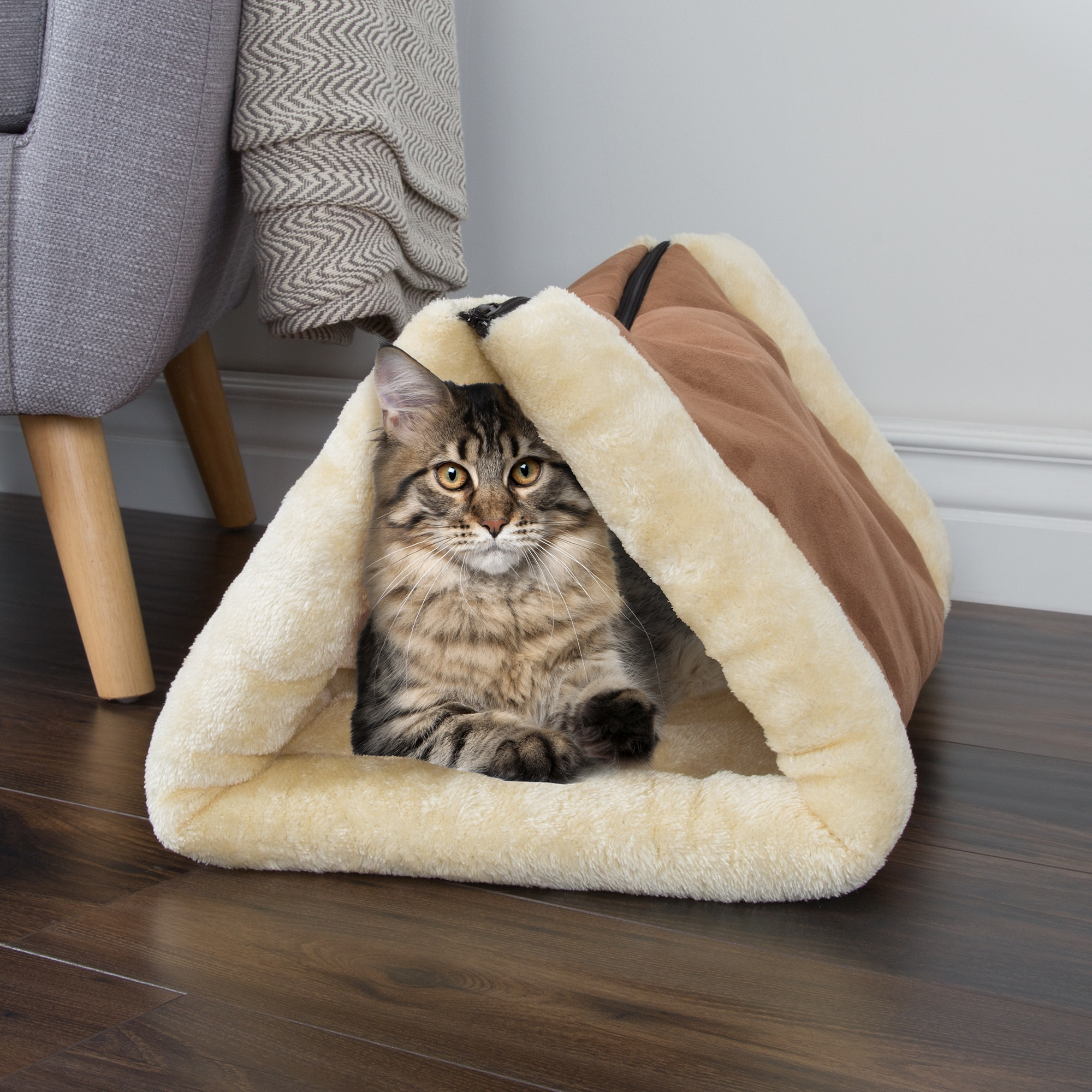 Petmaker Kitty Hut and Cat Bed (Tan), Beige Off-White, Si...