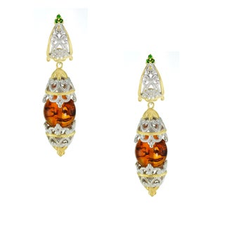 One-of-a-kind Michael Valitutti Amber and Chrome Diopside Earrings