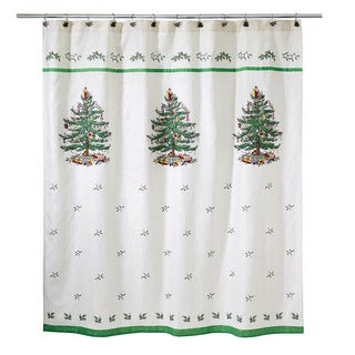 Spode Christmas Tree Holiday Jacquard Shower Curtain
