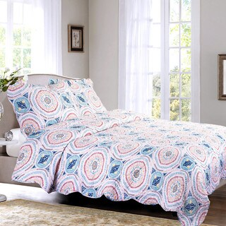 Bedsure Tangier Medallion Bohemian Printed Quilt Set with Pillow Sham