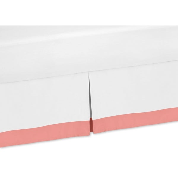 Sweet Jojo Designs White and Coral Mod Diamond Toddler Bedskirt