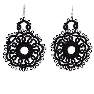 Handcrafted Cotton 'Black Flower Blossom' Earrings (Mexico)