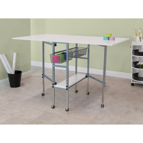 Studio Designs Sew Ready Adjustable Height Hobby and Craft Table with Drawers - White