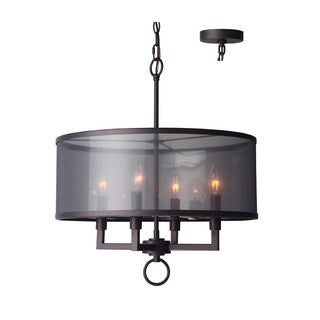 Woodbridge Lighting Jamison Nickel/Bronze Steel 4-light Pendant Chandelier