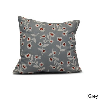 E by Design 26-inch Valentines Floral Holiday Floral Print Pillow (Grey)