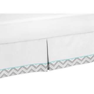 Sweet Jojo Designs Gray and Turqoise Blue Zig Zag Toddler Bedskirt