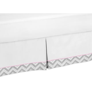Sweet Jojo Designs Gray and Pink Zig Zag Toddler Bedskirt