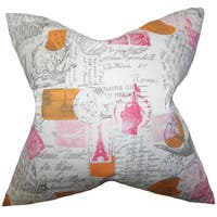 Winsome Typography Euro Sham Pink
