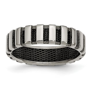 Titanium and Black Wire 6mm Band