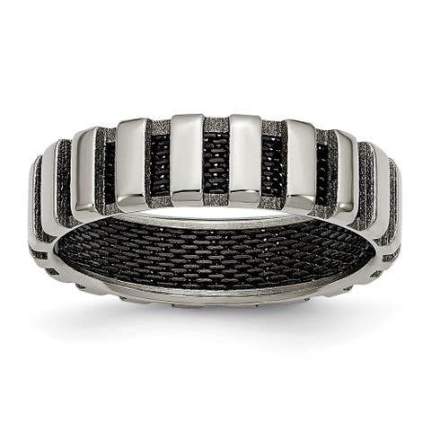 Chisel Titanium and Black Wire 6mm Band