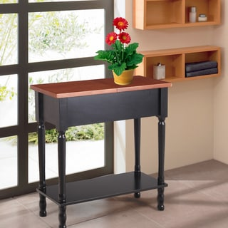 Adeco Durable Flip-top Side Table With Shelf
