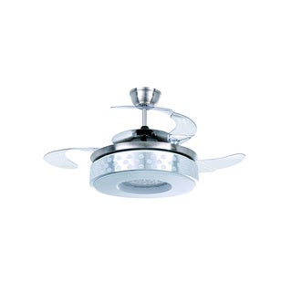 Satin Nickel LED Ceiling Fan with Foldable Shade