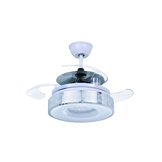 White LED Ceiling Fan with Drum-shape Shade