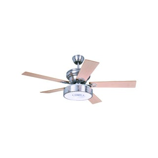 Contemporary Style Satin Nickel LED Ceiling Fan with 5 Wooden Blades