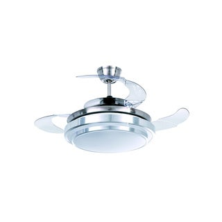 Satin Nickel Glass LED Ceiling Fan with Foldable Blades