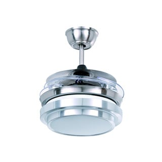 27-inch LED Brushed Nickel Ceiling Fan with Acrylic Shade
