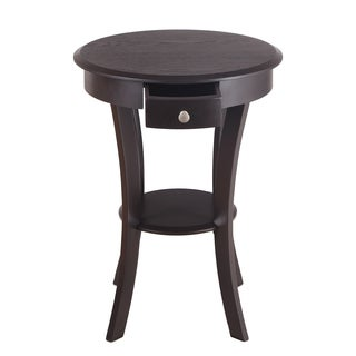 Adeco White and Brown MDF Accent End Table with Drawer and Shelf
