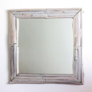 Mirror NE Teak Branch 30 in SQ (21 x 21) Agate Grey Oil