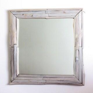 Handmade Mirror NE Teak Branch 30 in SQ (21 x 21) Agate Grey Oil (Thailand) - White