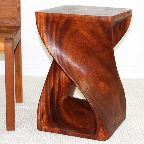 "Handmade Eco Wood Twist End Table (Thailand) - 15"" x 15"" x 23"""