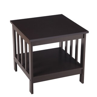 Adeco MDF Square Accent End Table With Open Shelf