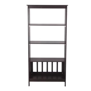 Adeco Home White/Brown MDF 57-inches Tall 4-shelf Wide Bookshelf