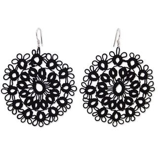 Handcrafted Cotton 'Black Doily' Earrings (Mexico)