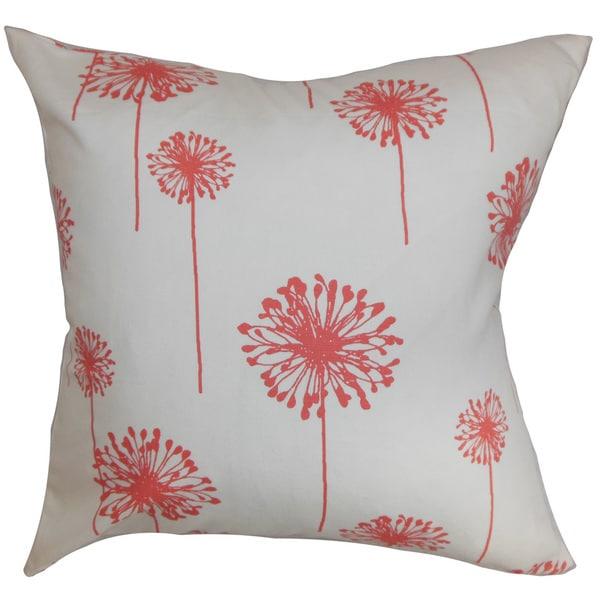 Dandelion Floral Euro Sham White Coral