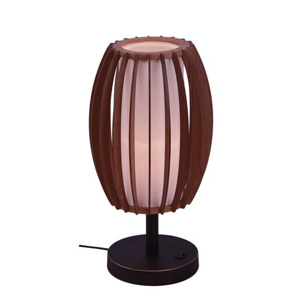 Woodbridge Lighting 16081-WSF2AS Fins Brown Wood 1-light Table Lamp