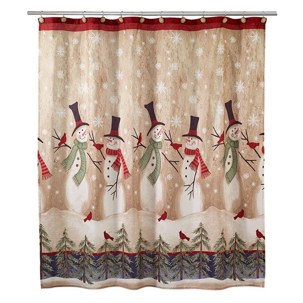 Tall Christmas Snowman Holiday Themed Shower Curtain Free Shipping On Orders Over 45