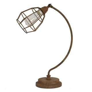 Decor Therapy Antique-rust Caged Desk Lamp