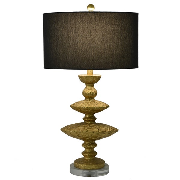 Decor Therapy Hammered Gold Leaf Faux Silk and Fabric 1-light Table Lamp