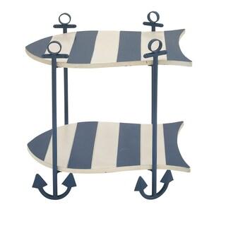 Malibu Ocean Blue Wood Nautical-themed Accent Table