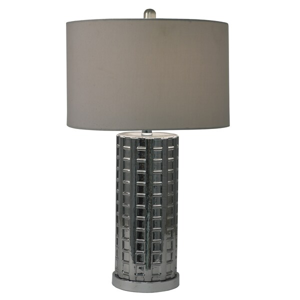 Decor Therapy Smoked Glass and Steel Table Lamp With Silver Faux-silk Shade