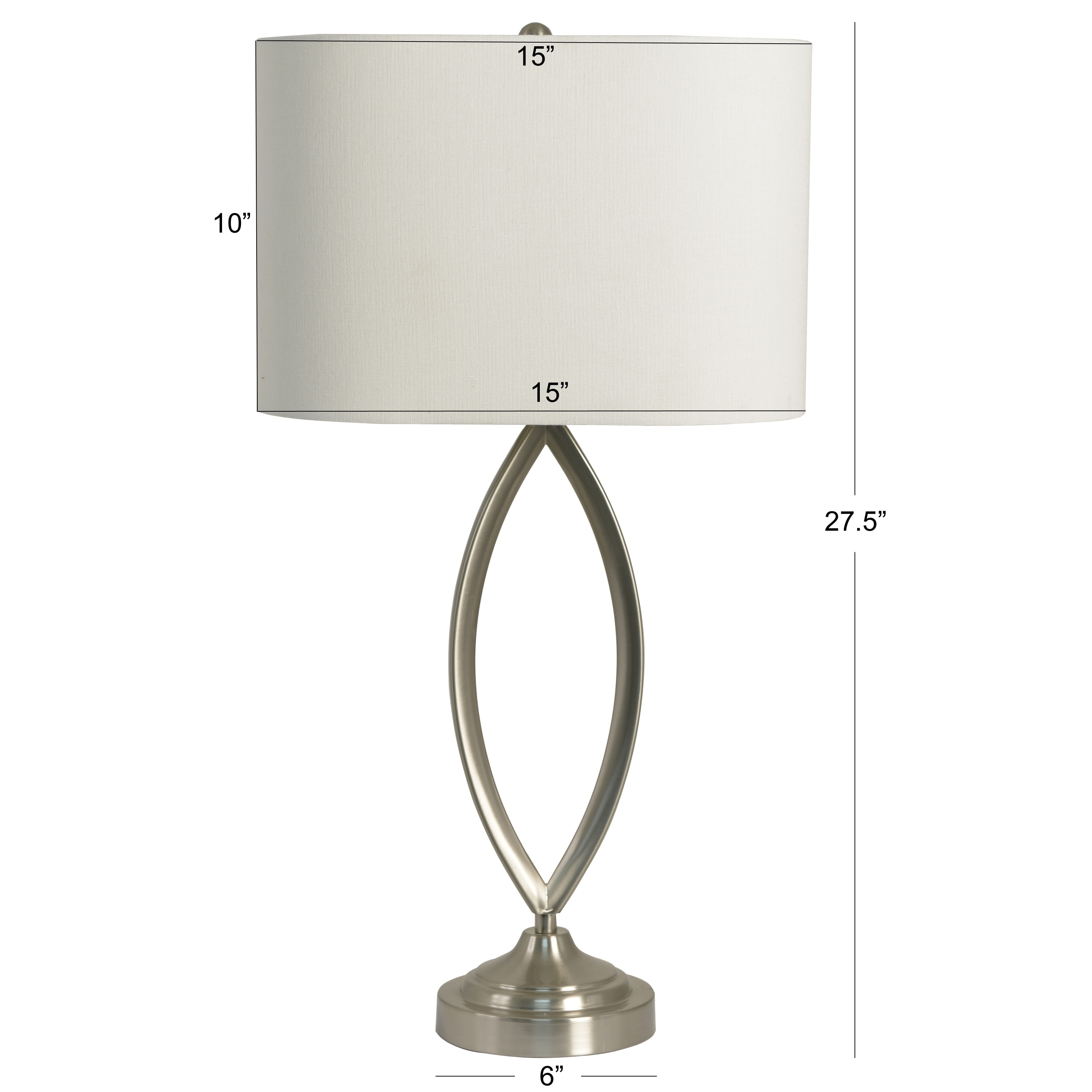 Decor Therapy Silver White Brushed Steel Table Lamp