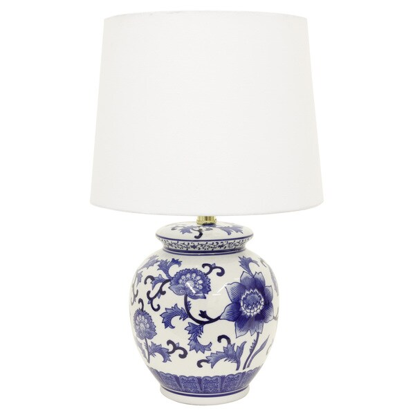 Decor Therapy Blue/White Ceramic Table Lamp