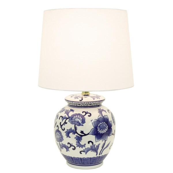 Decor Therapy Blue/White Ceramic Table Lamp - Free Shipping Today ...
