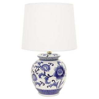 Decor Therapy Blue/White Ceramic Table Lamp