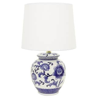 Blue ceramic table lamps for less overstock maison rouge stephane bluewhite ceramic table lamp mozeypictures Images