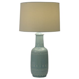 Decor Therapy Green Ceramic Patterned Table Lamp with Ivory Shade