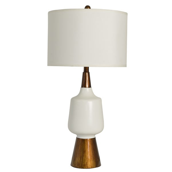 Decor Therapy Satin White and Faux Wood 1-light Table Lamp
