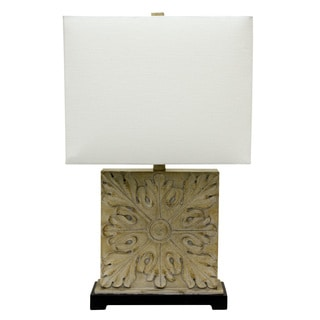 Black/Off-white Resin Square Carved Table Lamp