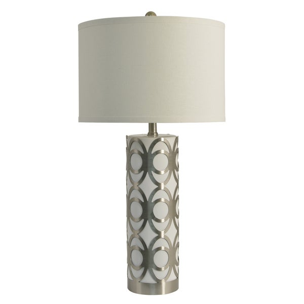 Decor Therapy Geo Overlay White/Silver Metal/Glass/Steel Table Lamp